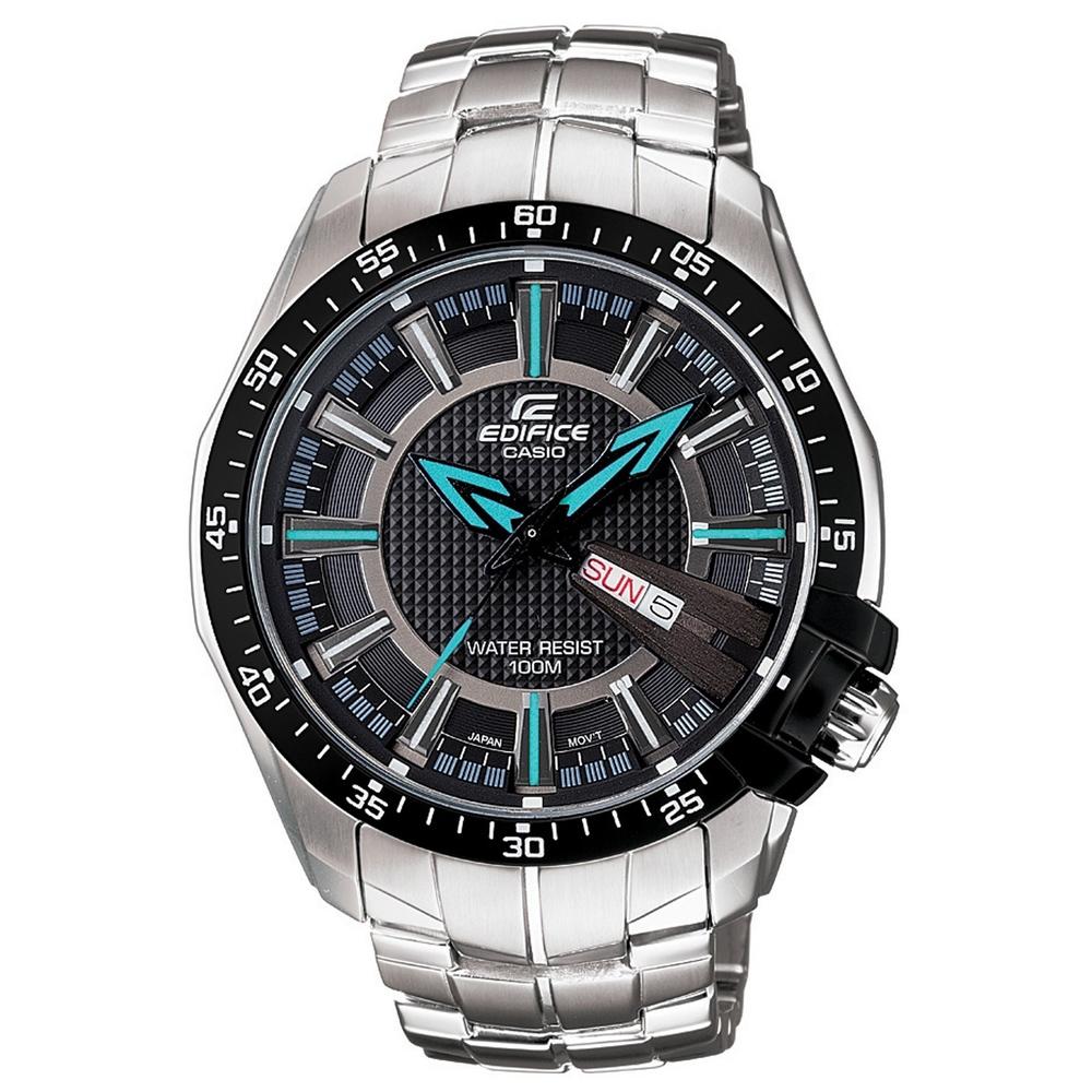 EDIFICE時尚前端新品味指針錶(EF-130D-1A2)-黑x藍時針/44mm