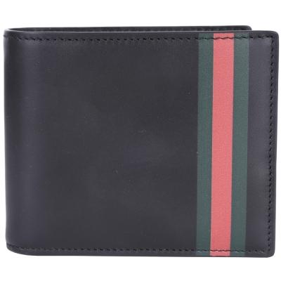 GUCCI Web bi-fold 綠紅條紋八卡對折短夾(黑色)