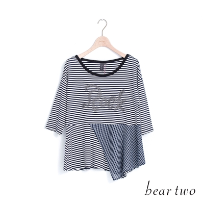 beartwo 經典條紋ROCK拼接造型上衣(二色)