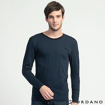 GIORDANO 男裝 G-Warmer彈力舒適圓領極暖衣 - 54 標誌黑/墨水藍