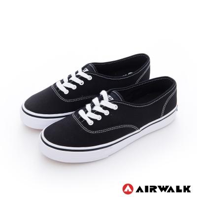 AIRWALK(女) - 小藍標 紅邊經典基本綁帶帆布鞋 -低調黑