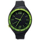 福利品 New Balance 502系列 NB LOGO運動秒針矽膠造型錶-黑綠/40mm