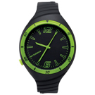 New Balance 502系列 NB LOGO運動秒針矽膠造型錶-黑綠/40mm