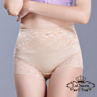 塑褲  v型加壓平腹高腰蠶輕塑褲-膚 La Queen
