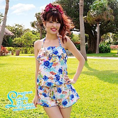 【AngelLuna日本泳裝】印花平口三件式比基尼泳衣-藍色連身褲