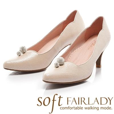 Fair Lady Soft芯太軟 水鑽桃心領設計壓紋尖頭高跟鞋 膚