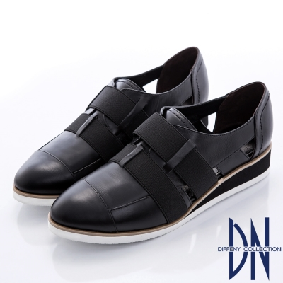 DN-帥氣街頭-時尚拼接交織束帶簍空厚底鞋-黑