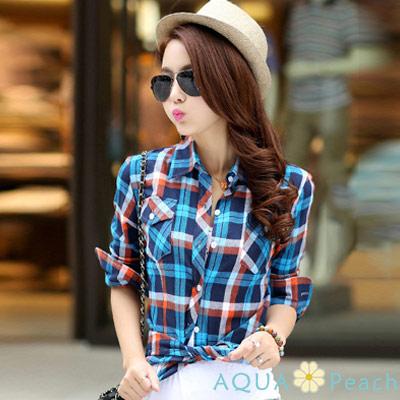 經典撞色格紋長袖襯衫 (共二色)-AQUA Peach
