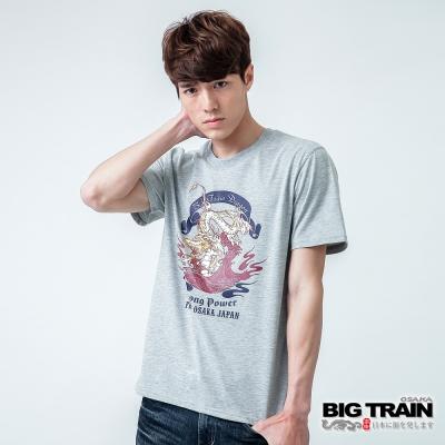 BIG TRAIN 怒濤金龍圓領TEE-男-灰