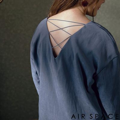 AIR SPACE PLUS 中大尺碼 交叉細繩V領絨布襯衫(藍)