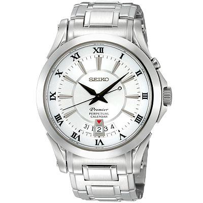 【SEIKO】Premier 萬年曆洗鍊腕錶(銀白)