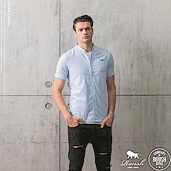 ROUSH 韓版立領牛津布短袖襯衫 (4色)