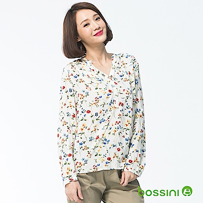 bossini女裝-七分袖造型襯衫01白色