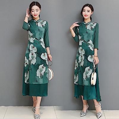 復古民族風改良式旗袍連衣裙M-2XL-REKO