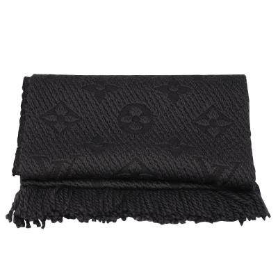 LV M72431 Monogram LOGO MANIA 羊毛針織圍巾(煤炭色)