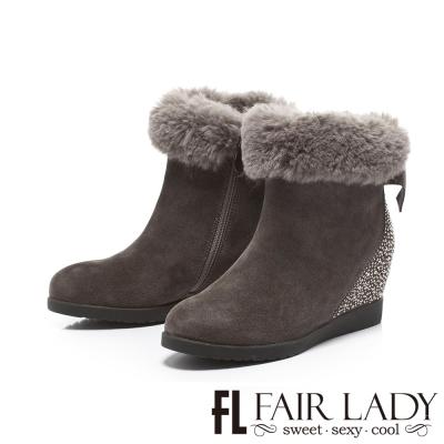 Fair Lady 絨毛拼鑽後蝴蝶結內增高短靴 灰