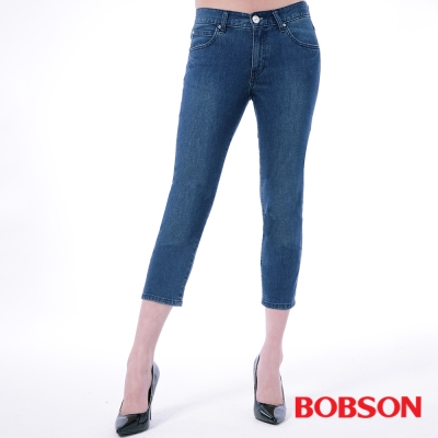BOBSON   女款膠原蛋白七分褲-深藍