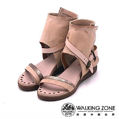 Walking Zone真皮 羅馬渡假風護踝涼鞋-駱駝色