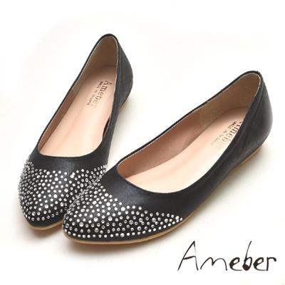 Ameber-微尖頭水鑽內增高小羊皮真皮平底鞋-黑