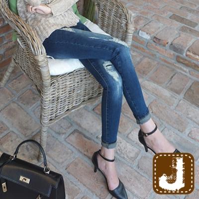 正韓 割破抽鬚貼腿刷白窄管-(水洗藍)100%Korea Jeans