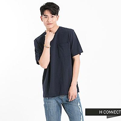 H:CONNECT 韓國品牌 男裝 -色彩條紋口袋T-Shirt-藍