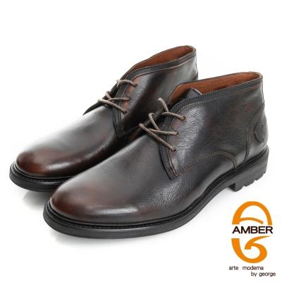 Amber-紳士品味 真皮素面低筒綁帶皮鞋(男)-咖色