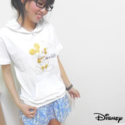 迪士尼休閒短帽T-微笑MICKY-天使白