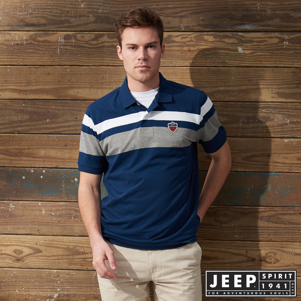 JEEP 撞色拼接簡約短袖POLO衫 -藍色