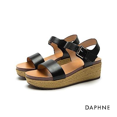 達芙妮DAPHNE 涼鞋-草編紋鞋底一字中跟楔型涼鞋-黑
