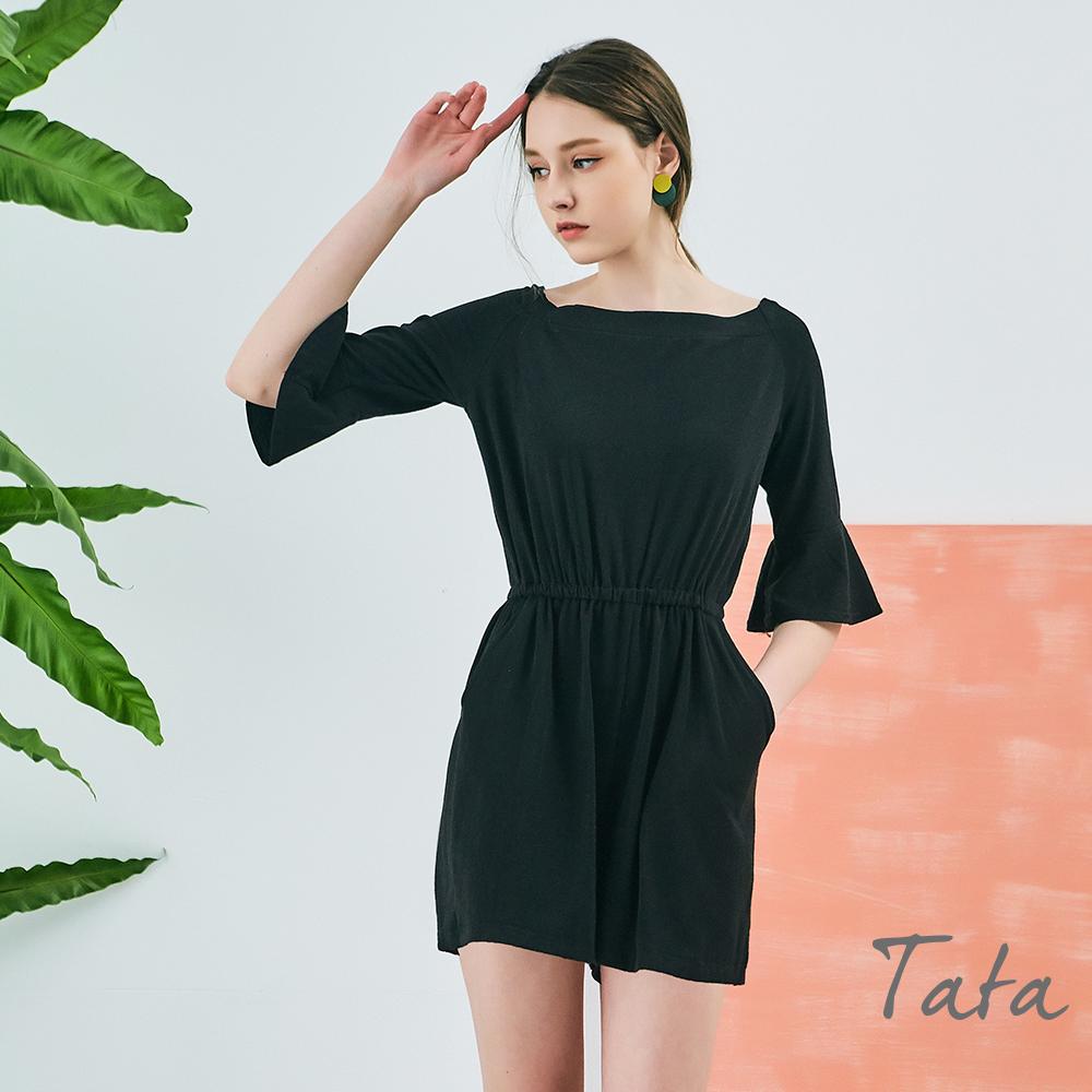 大圓領素面鬆緊腰連身褲 TATA
