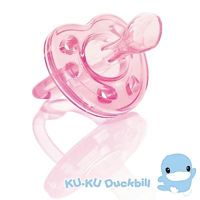 KU.KU酷咕鴨-馬卡龍全矽膠安撫奶嘴(蜜桃粉 藍莓紫)二色可選-0M 初生