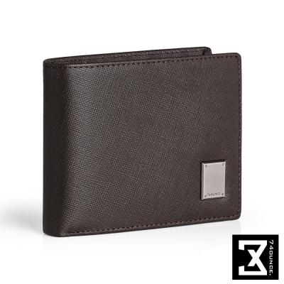 74盎司 Cross 十字紋橫式短夾(零錢袋)[N-552]咖啡