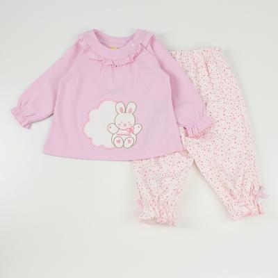 愛的世界 MYBABY 純棉小白兔長袖套裝/6M~3歲