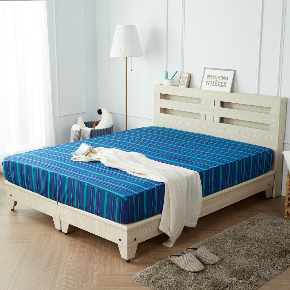 H&D 藍儂田園風5尺3件組 (床頭+底+床墊) / 4色