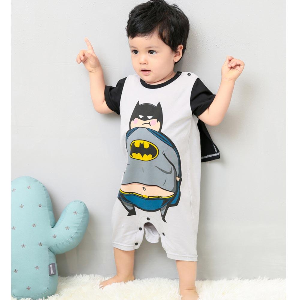 Baby unicorn 黑灰蝙蝠俠短袖連身衣包屁衣