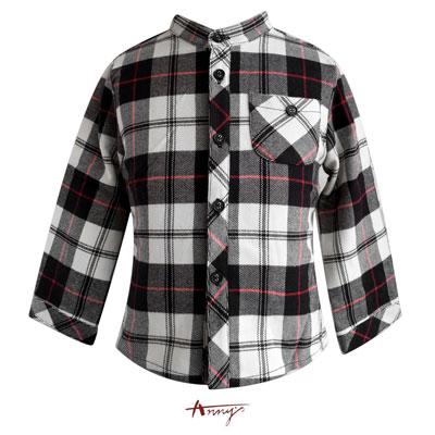 Annys帥氣氣質格紋口袋造型長袖襯衫*5478黑