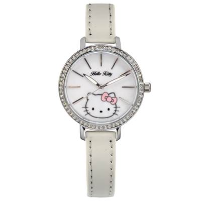 HELLO KITTY凱蒂貓珍珠貝殼晶鑽錶 白/34mm