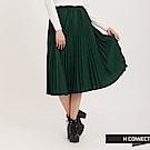 H:CONNECT 韓國品牌 女裝 - 純色百褶長裙 - 綠