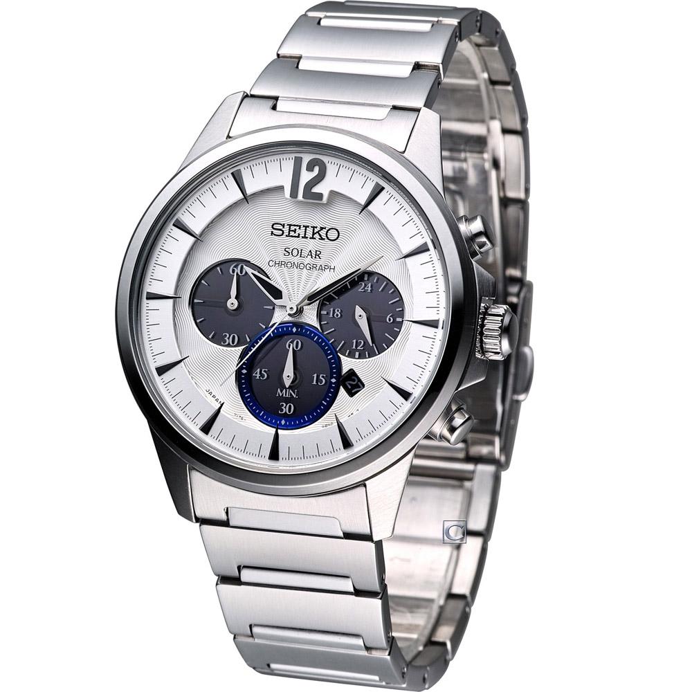 SEIKO SPIRIT 簡約太陽能計時腕錶(SBPY061G)-銀白/40mm