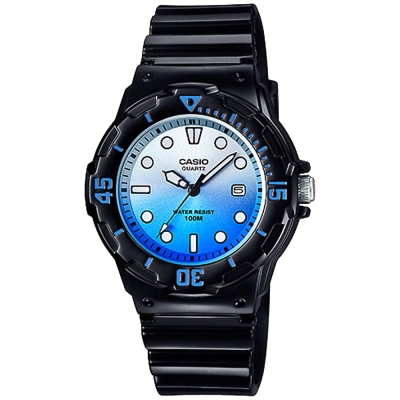 CASIO卡西歐 清涼海洋風女錶-漸層藍x黑/ 32 mm