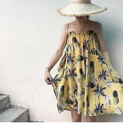 La Belleza扶桑花鳳梨花菠蘿印花鬆緊腰棉麻長裙