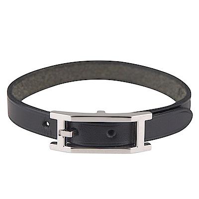 HERMES 質感牛皮打造單圈手環(黑/全亮銀扣)