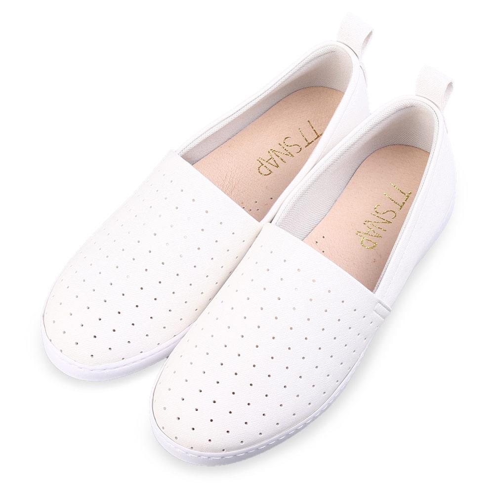 TTSNAP懶人鞋-MIT輕巧透氣洞洞休閒鞋 白
