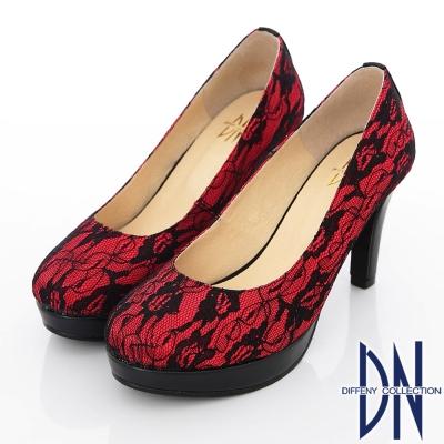 DN-優雅仕女-MIT法式鏤花蕾絲高跟鞋-紅