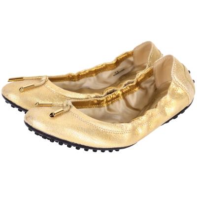 TOD'S 金屬單結飾壓紋芭蕾舞鞋(金色)