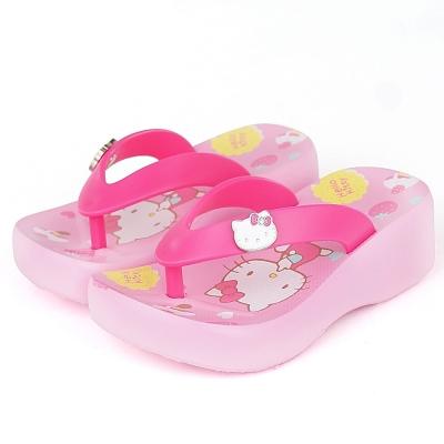 Hello Kitty 甜點系列超輕量厚底夾腳拖鞋童鞋-粉