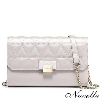 Nucelle 伊麗莎白鎖釦鍊帶皮夾包 珠光白
