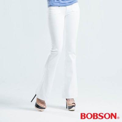 BOBSON 低腰貼口袋中喇叭褲-白色