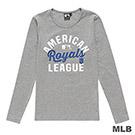 MLB-堪薩斯皇家隊美式風印花長袖T恤-麻灰 (女)