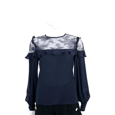 PINKO 深藍色拼接透膚紗質長袖上衣